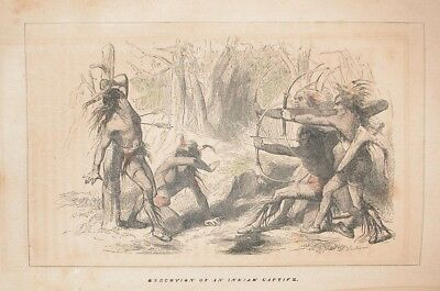 1857 Engraving Native America Indian Execution Early Florida History