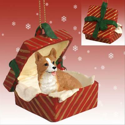 Welsh Corgi Pembroke Dog RED Gift Box Holiday Christmas ORNAMENT