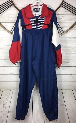 River Edge Sport Track Suit Windbreaker Pant Jacket Nautical 90s Womens Sz L VTG