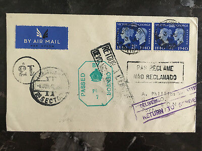 1940 England to portugal First BOAC airmail Censored Cover Returned