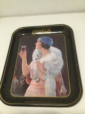 Vintage -Coca Cola Coke Metal Tray with Pink Lady 1973 Blue Hat Flapper Girl