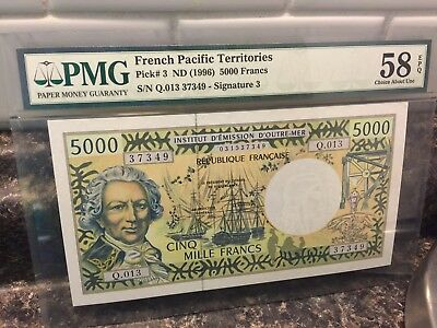 PMG Graded French Pacific Territories Pick #3 Nd 1996 5000 Francs 58 EPQ NR