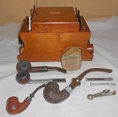 10 Vintage Estate Briar Tobacco Pipes+Decatur Humidor+Tools+Pouch Kaywoodie +