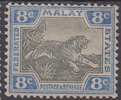 Federated Malay States 1900 Tiger 8C Wmk Crown Ca