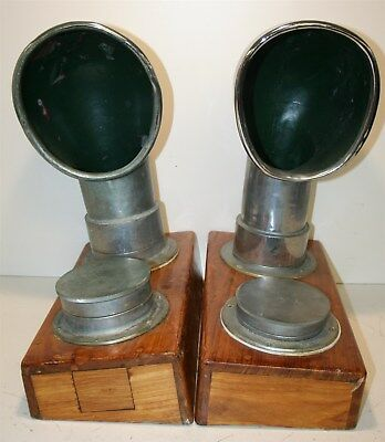 Pair Vintage Nickel Plated Brass Nautical Oval Cowl Vents In Wood Box