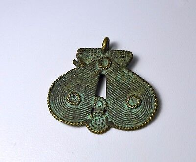 Old Lost Wax Bronze detailed pendant from The Ashanti with circular like motif