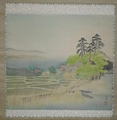 RICE PADDIES KAKEMONO HANGING SCROLL Vintage SIGNED Japanese Gado Brush Painting