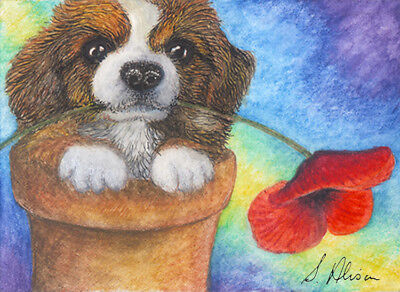Welsh corgi dog puppy orig ACEO WONDERS2017 by Susan Alison holding poppy mouth