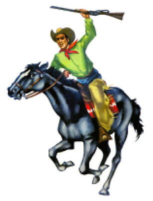 Vintage Image Retro Riding Cowboy On Horse Rodeo Waterslide Decals MIS567