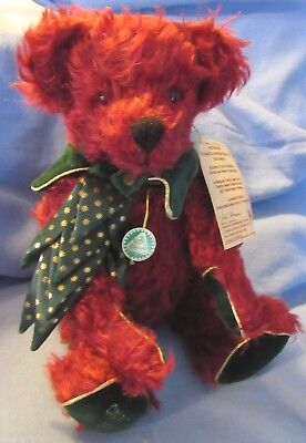 """Vintage 15"""" Hermann Germany Christmas Red Mohair Teddy Bear Tags Valentines Day"""