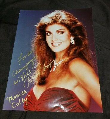 Tracy Scoggins Signed Monica Colby Dynasty Colbys 8X10 Glossy Photo 80's Glamour