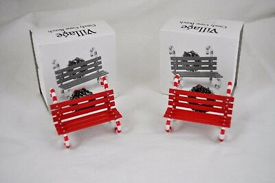 Dept 56 Snow Village *candy Cane Bench* 52669 Retired 2012  Lot Of 2