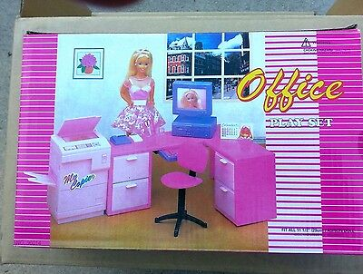 GLORIA DOLLHOUSE FURNITURE Size OFFICE Computer With Monitor PLAYSET Doll House