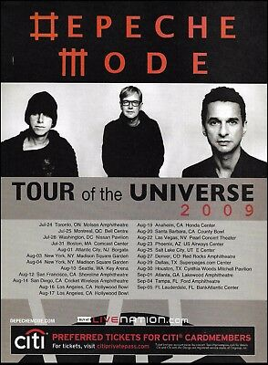 Depeche Mode 2009 Tour of the Universe USA Dates ad 8 x 11 advertisement print
