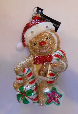RADKO  Gingerbread Man with candy canes 2014 Ornament Hand Blown glass