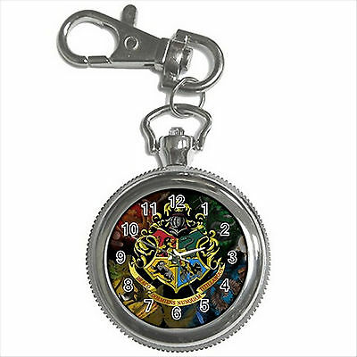NEW* HOT HARRY POTTER HOGWARTS SCHOOL Silver Tone Key Chain Ring Watch Gift D01
