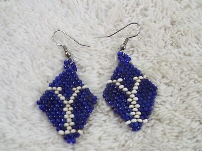 Blue White Brigham Young Y Pierced Earrings (C79)