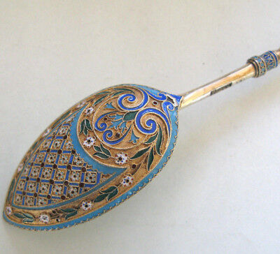 Fine Imperial Russian Silver Enamel Serving Spoon by Antip Kuzmichev