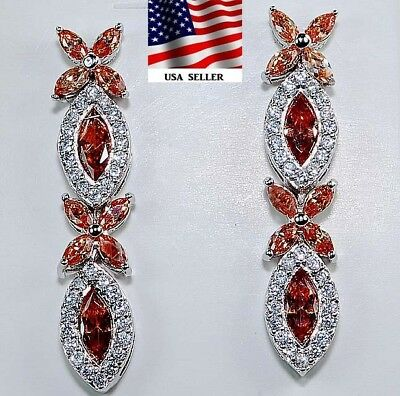 5CT Padparadscha Sapphire & Topaz 925 Solid Sterling Silver Earrings Jewelry