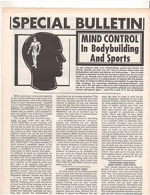 Special Bulletin Mind Control In Bodybuilding And Sports Universal Flyer