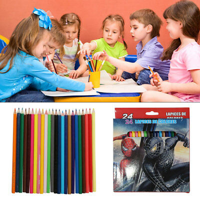 24 Colouring Colour Pencils Pack Children Kids School Coloured Art Craft Fun