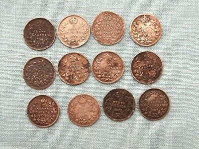 Lot of 12  Canadian 5 cent silver coins