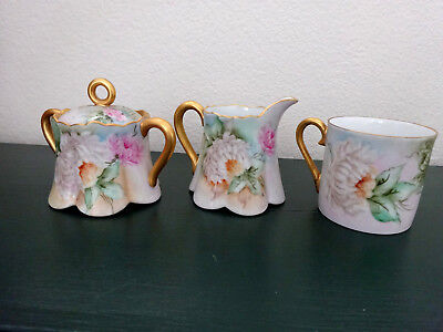 Beautiful Vintage Porcelain Coffee Mug, Sugar & Creamer With Chrysamthemums