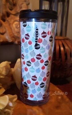 NEW STARBUCKS Double Wall Acrylic 12 oz Ornaments Hot 2016 Holiday Tumbler