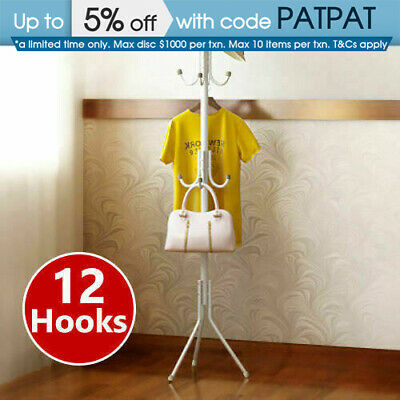 12 Hook 3-Tier Coat Hat Clothes Rack Free Standing Metal Tree Style Hanger White