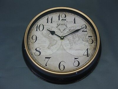 Large Metal Wall Clock 30 cm Nostalgic Antique Style World Map Loft Station