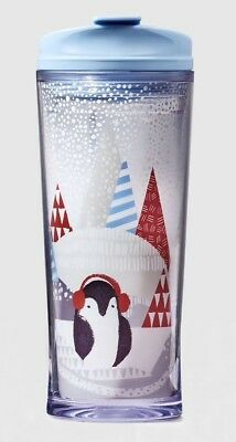 NEW STARBUCKS Double Wall Acrylic 12 oz PENGUIN Lidded 2016 Holiday Hot Tumbler