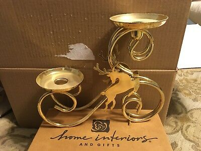 Reindeer Candle Holder Gold, Home Interiors new Christmas Decoration