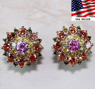 4CT Multi Color Sapphire 925 Solid Genuine Sterling Silver Earrings Jewelry