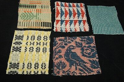 Antique Coverlet Pieces for Pillows Stockings Appliques Hearts Lot of 5  - H