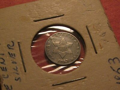 """1853 (Trime) """"3"""" Cent Silver Coin Up For Auction  (Ungraded - You Decide)"""