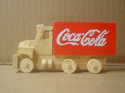 Coca Cola Miniature Decorative Handmade Wood Delivery Truck w/ Open Box