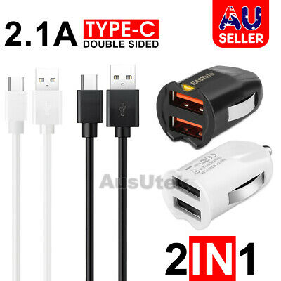 For Samsung 3.1A Fast Dual Car Charger USB C Type C Galaxy S8 S8+ Note 8