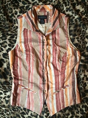Vintage Limited 100% Silk Top - S - Button Vest Tank Shirt Pink Brown Small EUC