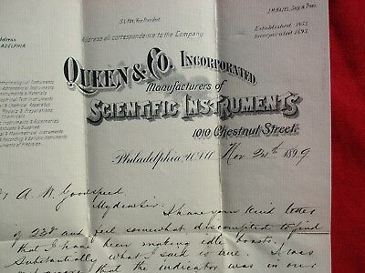 1899 Queen Scientific Instruments Maker's,President J.G.Gray signed Phila Letter