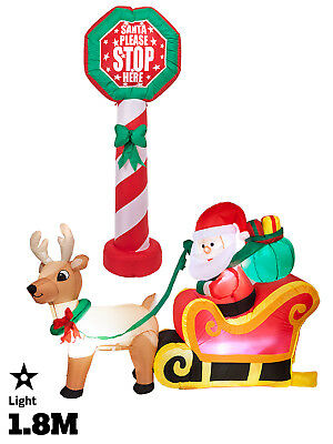 Inflatable Light Up Christmas Giant Shapes 1.8m Outdoor Decoration Santa Garden