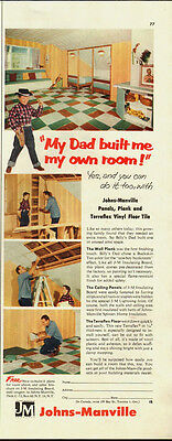 1954 Vintage ad for Johns-Manville Panels, Vinyl Floor Tiles (062313)