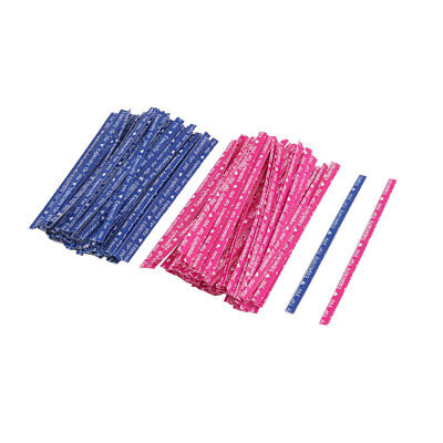 Gift English Letter Print DIY Biscuit Bag Packing Twist Ties Blue Fuchsia 200pcs