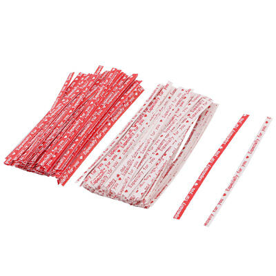 English Letter Print DIY Candy Biscuit Bag Packing Twist Ties Red White 200pcs