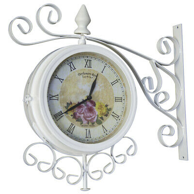 Cream Vintage 37Cm Double Sided Metal Garden Outdoor Bracket Wall Clock