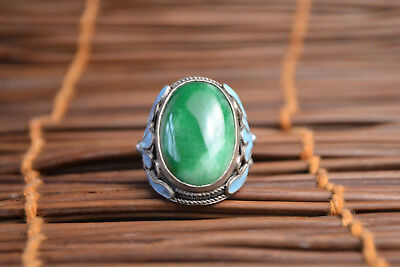 Collectible Old Cloisonne Carve Flower Inlay Natural Green Jade Adjustable Ring