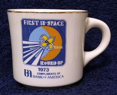 BSA Mug - WESTERN REGION Scout Roundup 1973 FIRST IN SPACE -Bank of America RARE