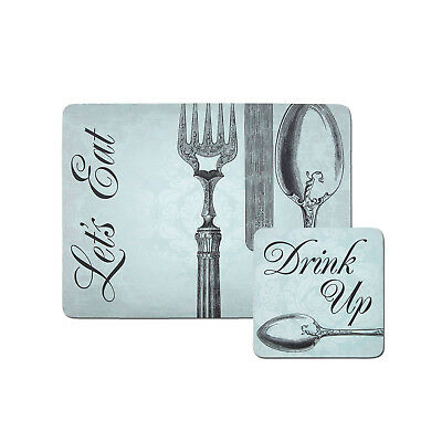 4 Dining Placemats /& Coasters Tablemats Carnaby Script Black White Let/'s Eat