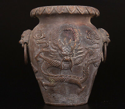 Bronze Pot Old Jar Holy Dragon Carving Collection