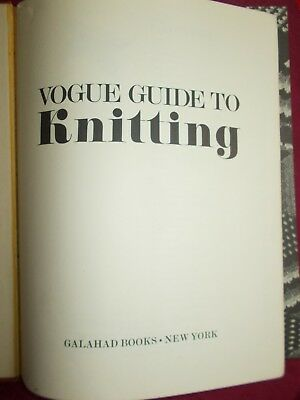 Vogue Guide To Knitting Book From 1972
