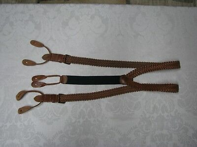 Vintage-Suspenders-Leather Tabs-Brass Buckle Cinches-Nylon-ENGLAND